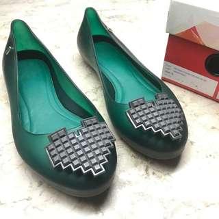 REPRICED❗️Melissa Feeling Low Green/Gray Rubber Flat Shoe