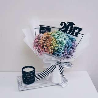 Graduation Series - Rainbow Baby Breath Bouquet