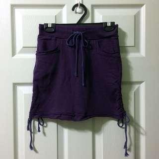 (銅板時尚)韓 純棉 運動風抽繩短裙貼身裙 茄紫色