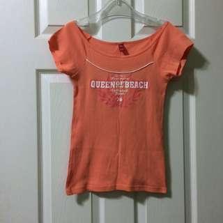 (銅板時尚)美式休閒粉嫩橘大圓領合身棉T貼身上衣可露肩