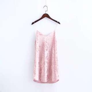 Pink Crushed Velvet Slip Dress