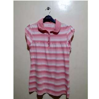 (Repriced) Pink Striped Polo Shirt