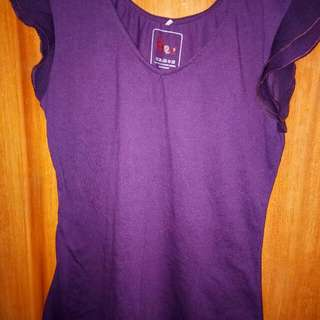 Ruffled Short Sleeve Blouse - Purple