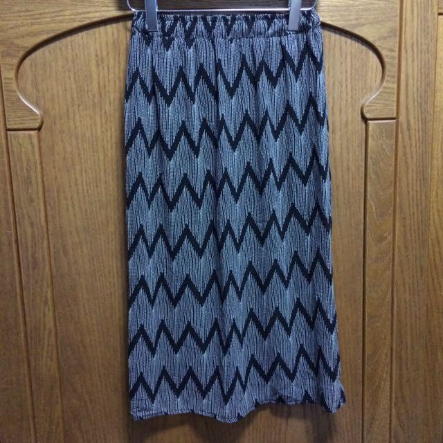 幾何圖雪紡紗長裙