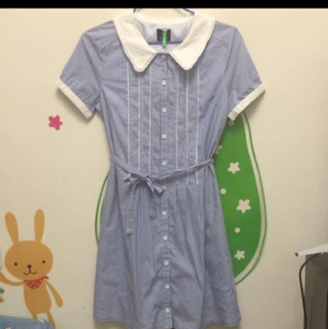 藍白條紋氣質洋裝