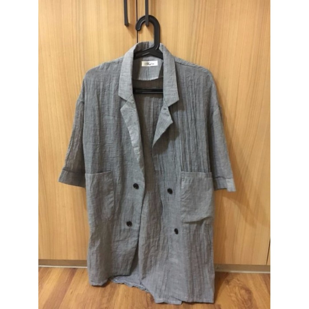 韓國 棉麻 大衣 (長版外套) 300含運