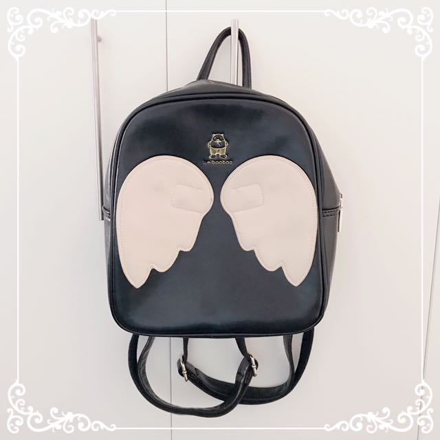 ୨୧⑅* Black Angel Wings Backpack Faux Leather ୨୧⑅*