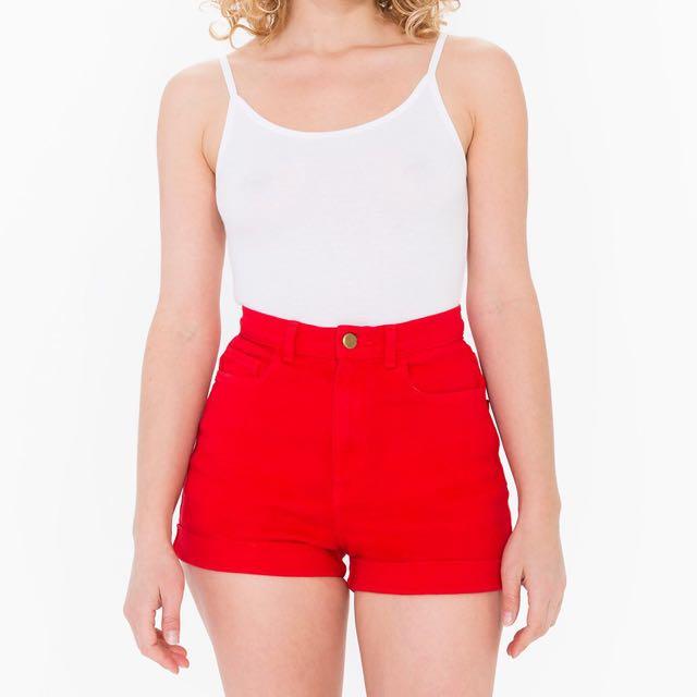American Apparel Red Denim Shorts