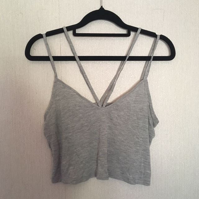 Size 6 Asos Double Strap Grey Cropped Top