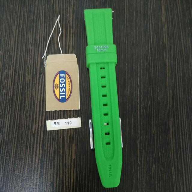 Authentic Green Fossil 18mm Rubber Watch Strap