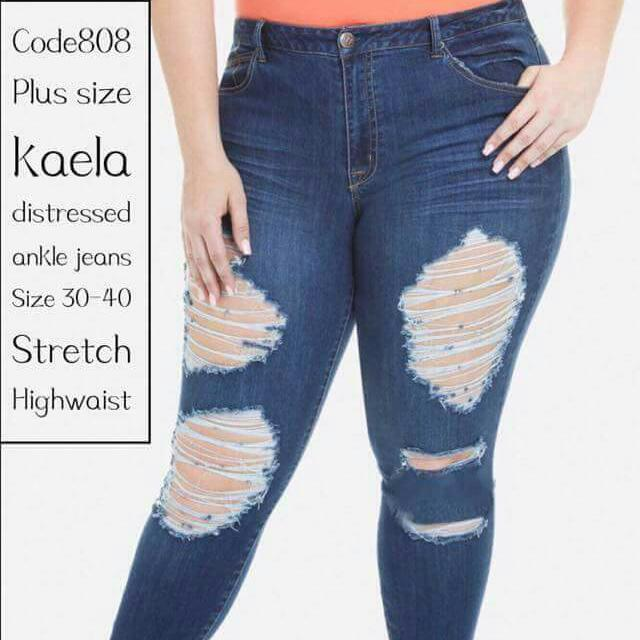 Big size kaela distressed ankle jeans