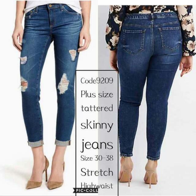 Big size tattered skinny jeans