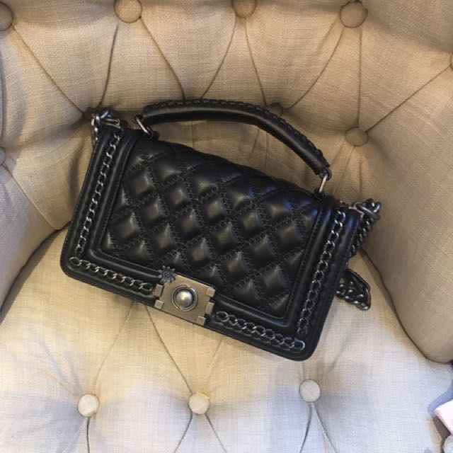 Black Sling Bag With Handle