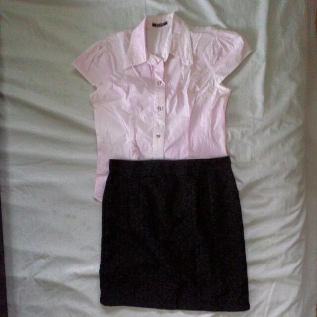 <repriced> Blouse + Laced Skirt