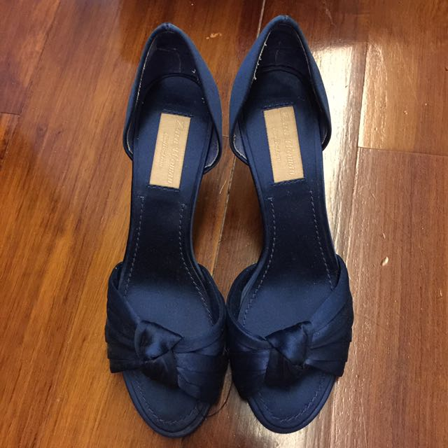 Repriced !! Brand New Zara Peep Toe Party Heel Size 37 In Blue