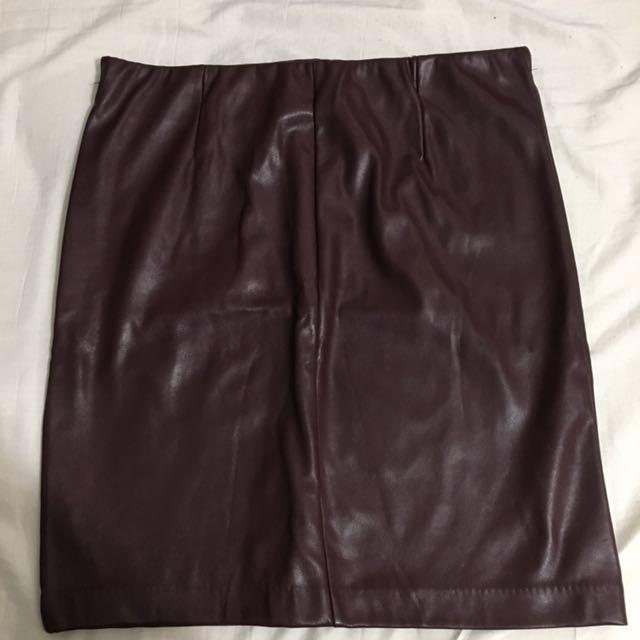 Burgundy Mini Skirt.