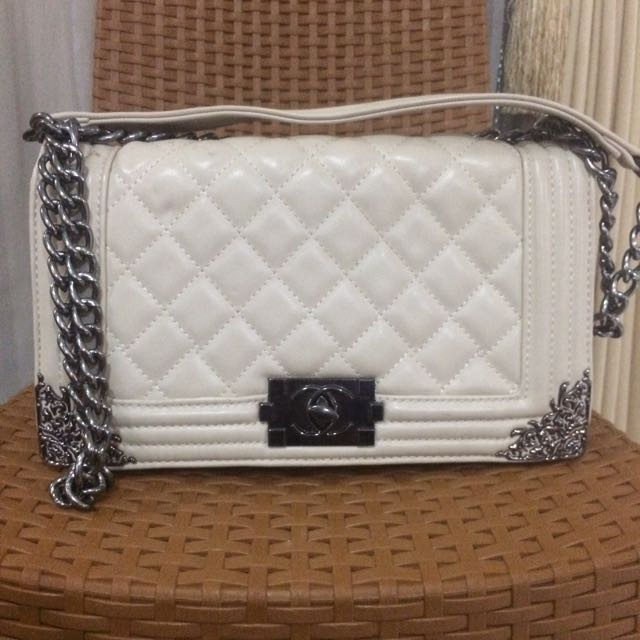 Chanel Boy White Sling Bag