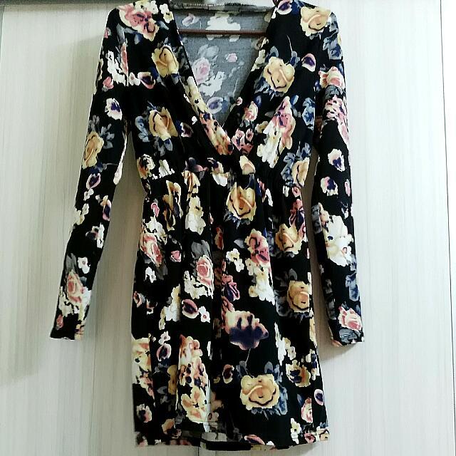Deep Plunge Floral Dress
