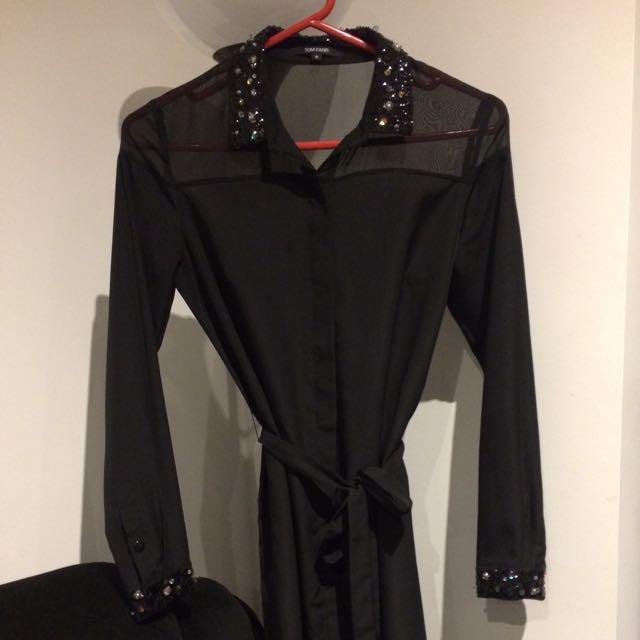Designer Detailed Black Shirt Dress AU 6-8, Size S Tom Farr FREE POSTAGE