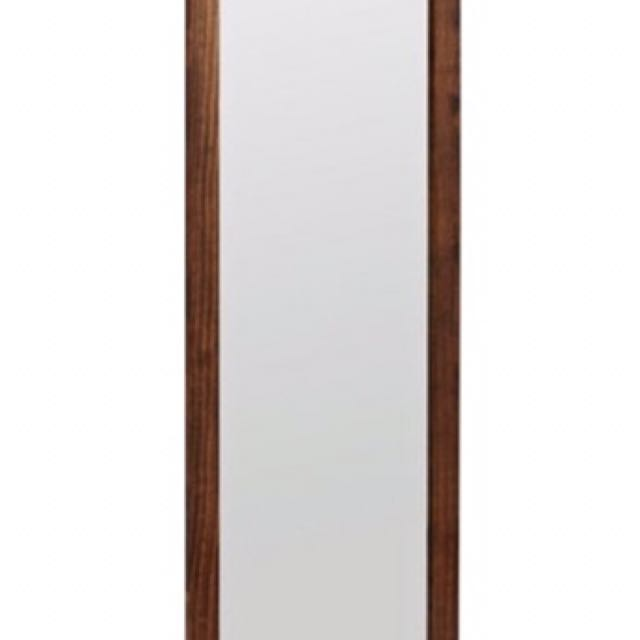 Full Length Wooden Wall Dark Brown Mirror Vanity