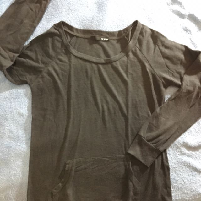 Gray Longsleeves With Pocket Design
