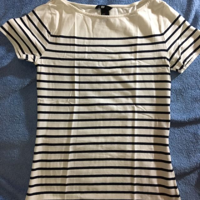 H&M Boat Neck Striped Shirt