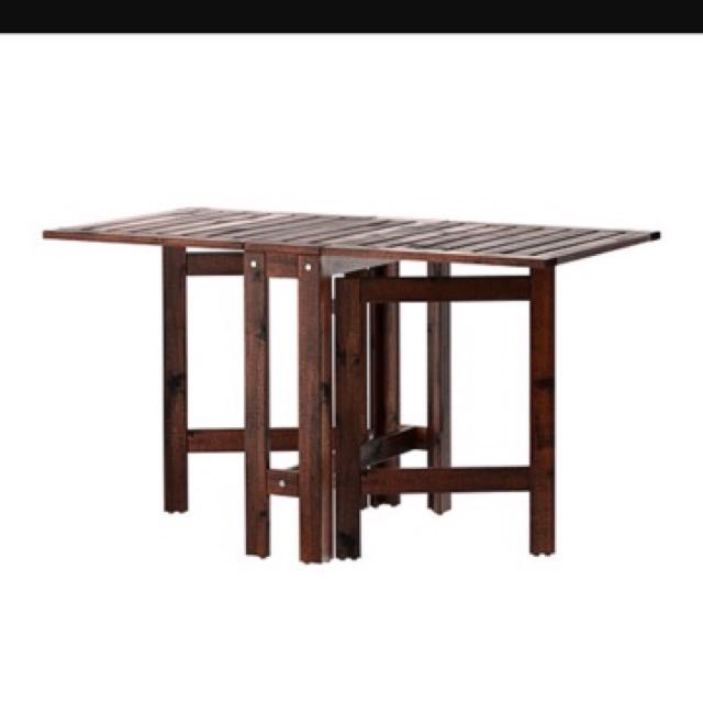 Ikea Applaro Wooden Foldable Table Wood Brown Dining Coffee