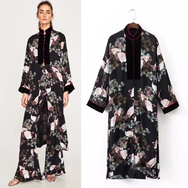 befe7565 Inspired Zara Crane Long Kimono Printed Long Sleeves, Women's Fashion,  Clothes, Outerwear on Carousell