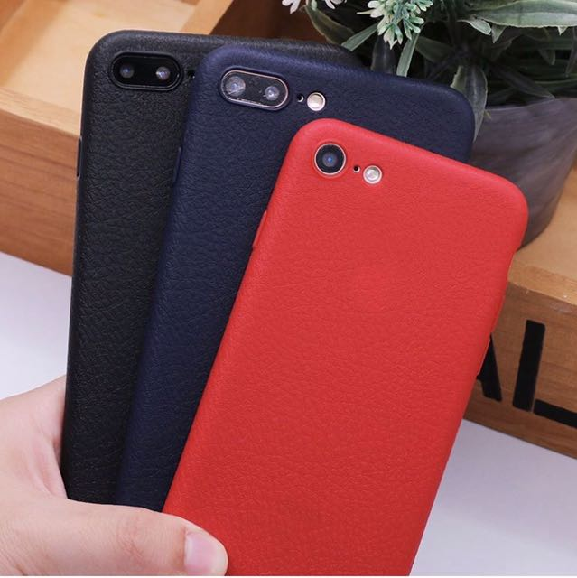 Iphone 5s Plastic Leather Like Case (red Color)
