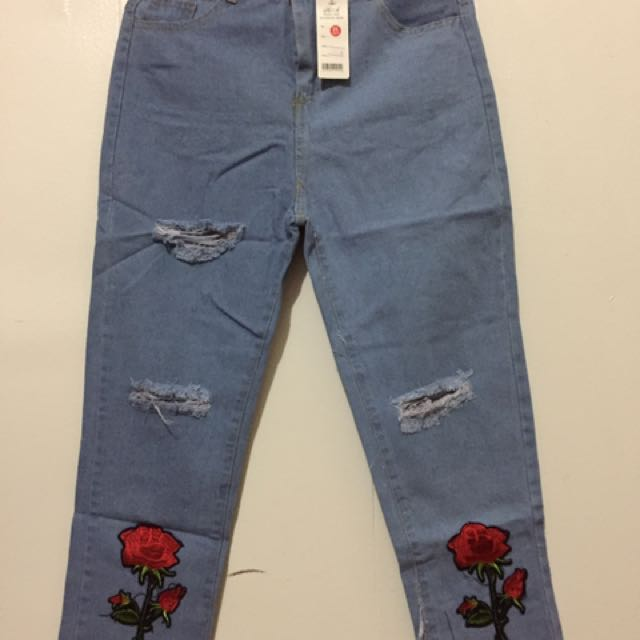Ladies Tattered Pants With Patches