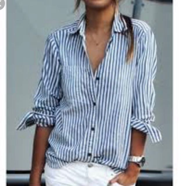 Long Sleeve Striped Blouse -size M -Bannana republic