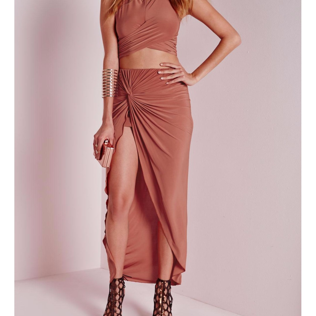 Missguided Knot Detail Maxi Skirt