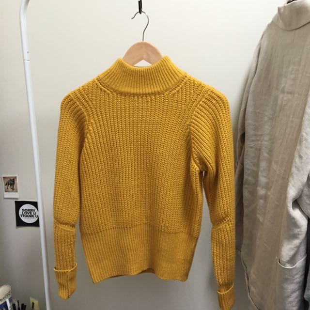 Mustard High Neck Knitted Jumper