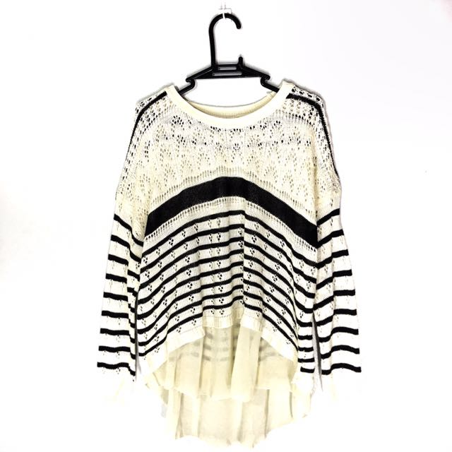 Navy & White Striped Pullover