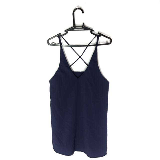 Navy Blue Long V-Neck Top with Cross Back Detail