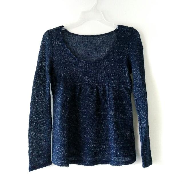 NAVY KNITTED LONG SLEEVE