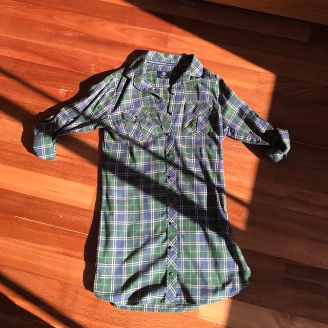 *New* Henry Lloyd Checkered Shirt Dress with Roll-up Sleeves Size M