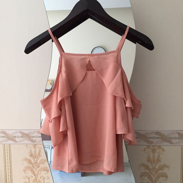 Nude Peach Sabrina Top