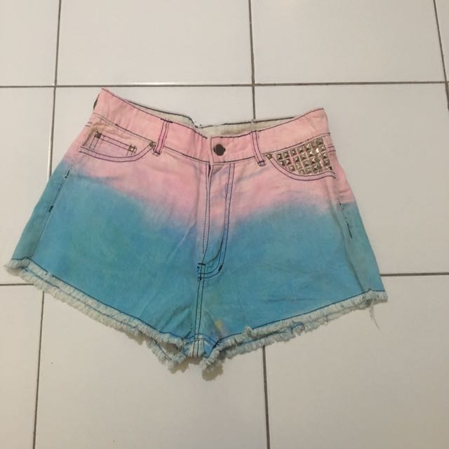 ombre studed hotpants
