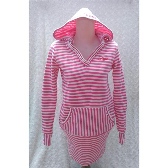 Pink & White Stripes Woman Hoodie