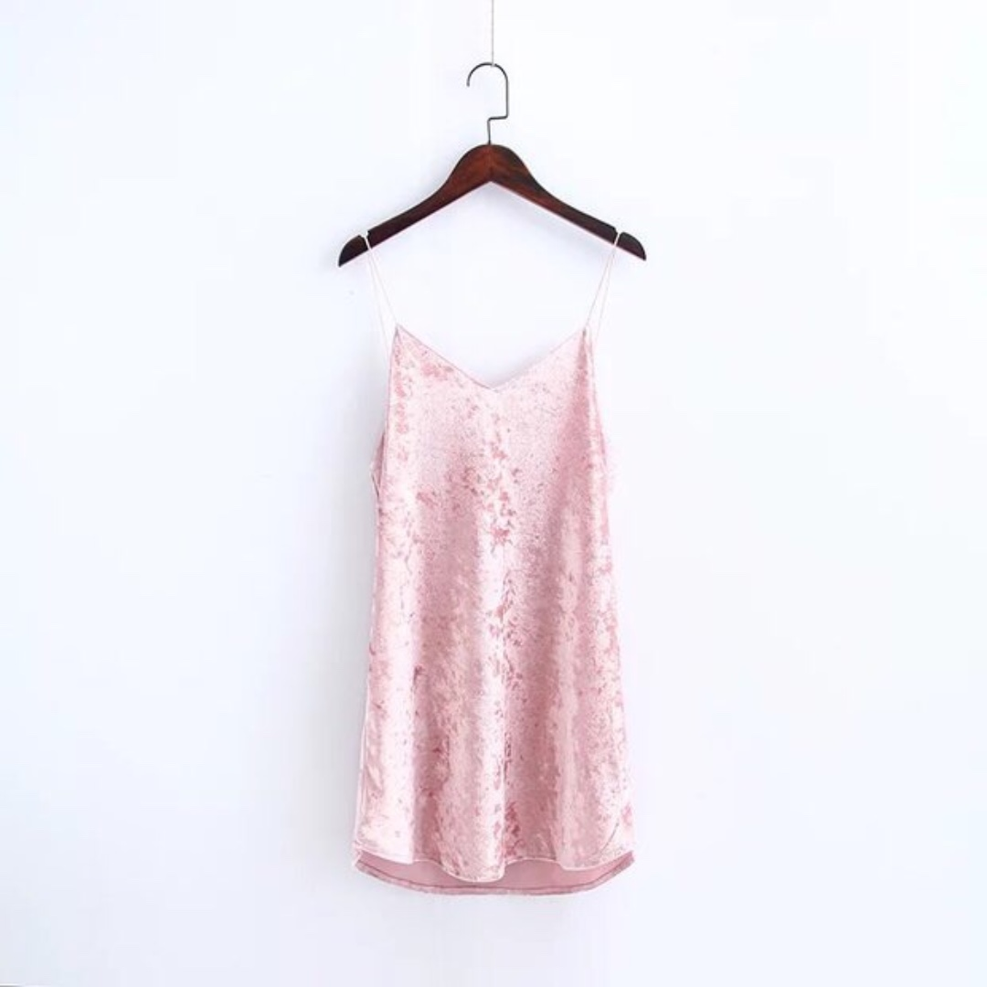 Pink Crushed Velvet Slip Dress