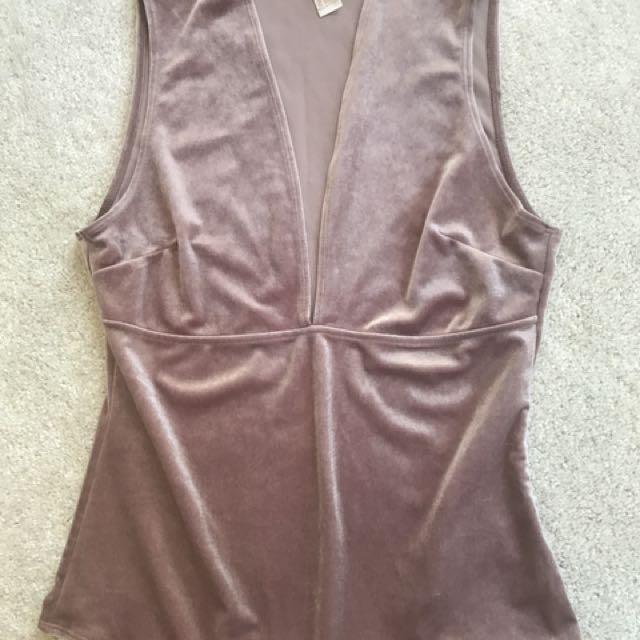 Pink Velour Bodysuit FOREVER 21