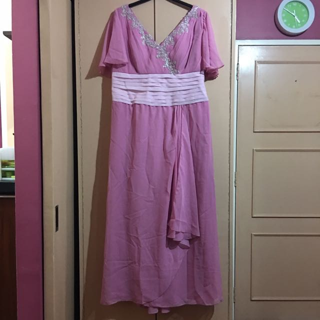 Plus Size Pink Bridesmaid Gown