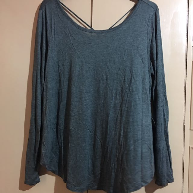 Plus-Size Forever 21 Gray Long Sleeve Blouse - 2X