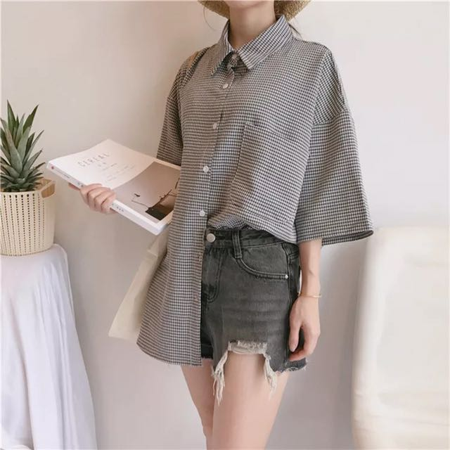 42b088bbf47df3 PO] Ulzzang Oversized Button Plaid Shirt, Women's Fashion, Clothes ...