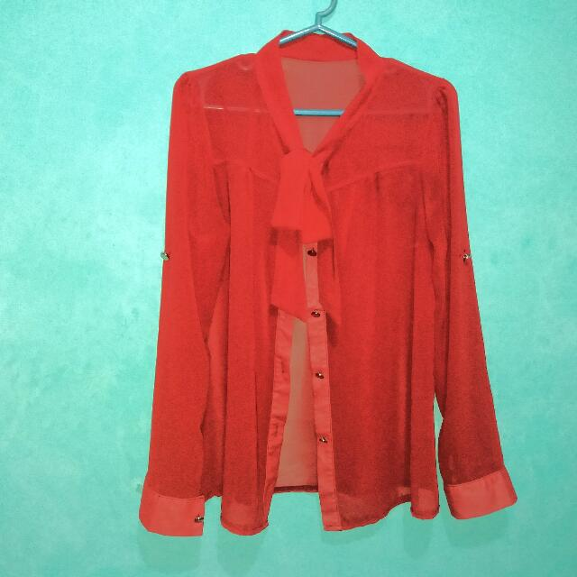 Preloved Chiffon Long Sleeves (Freesize)