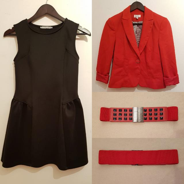 PRELOVED LITTLE BLACK DRESS W/ RED BLAZER AND RED EMPIRE WAIST BELT