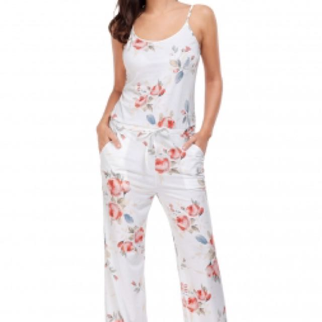 Ready Stock Xl Plus Size Floral Wide Leg Jumpsuit In White Womens