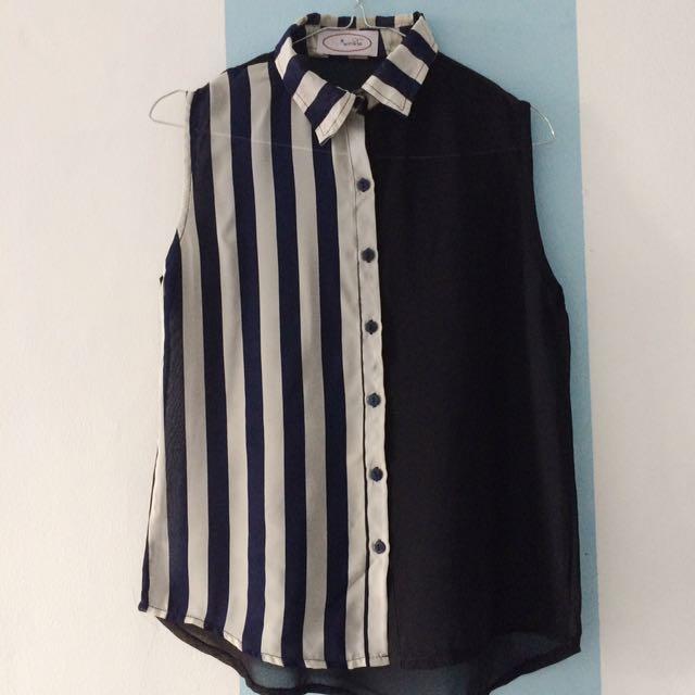 Stripped Sleeveless Shirt