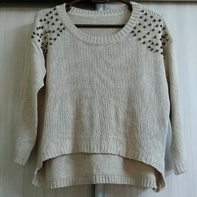 Studded Round Neck Knit Top